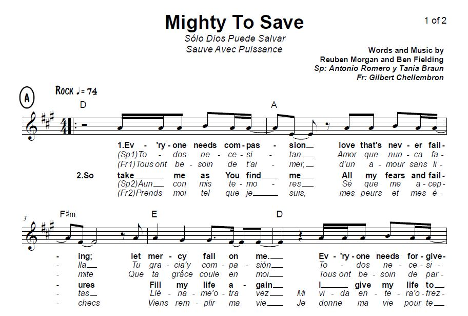 "This Sunday: ""Mighty To Save"" in French AND Spanish 
